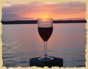 photograph: Wine glass at sunset